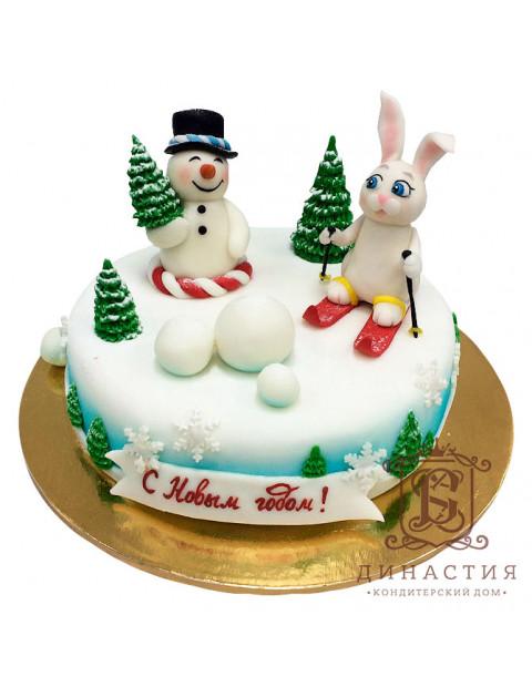 Торт Новогодний с зайкой