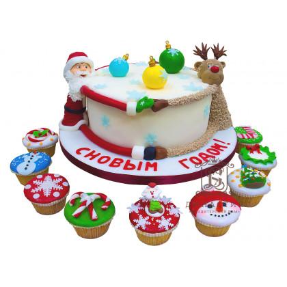 Торт Новогодний с капкейками