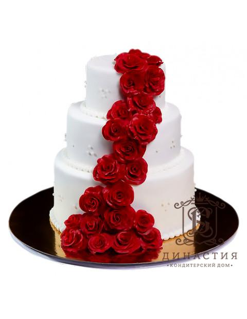 Торт Каскад из красных роз