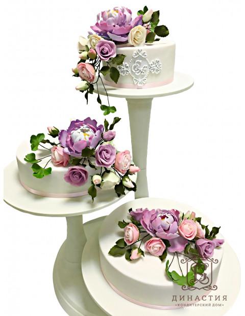 Торт Свадебный с букетами