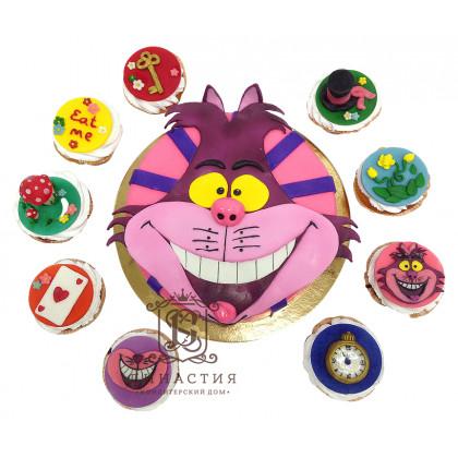 Торт Чеширский кот с капкейками