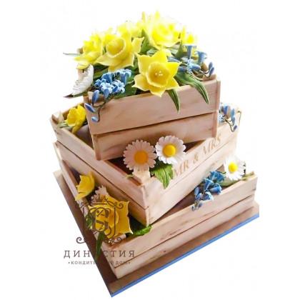 Торт Ящики с цветами
