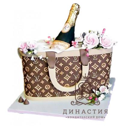 Торт Шампанское в сумке Луи Витон