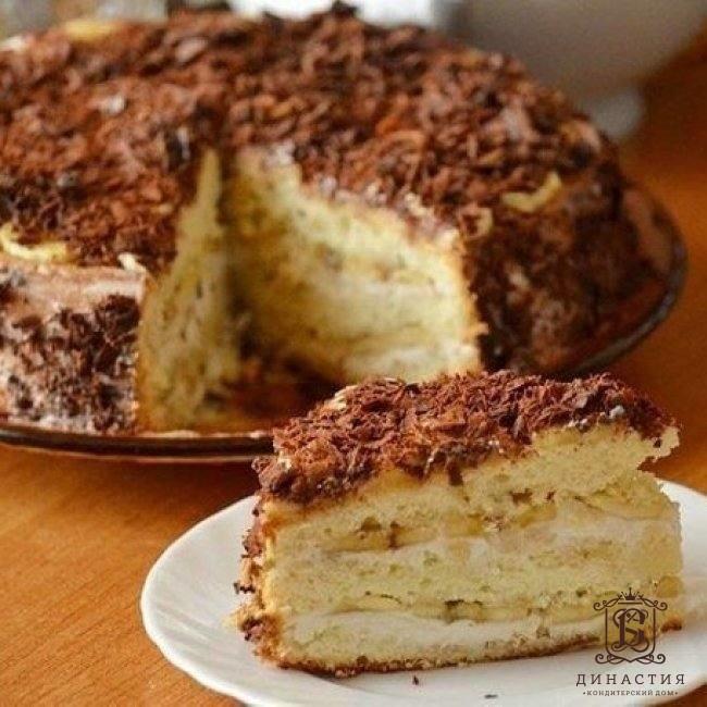 торт бисквитное чудо с бананами