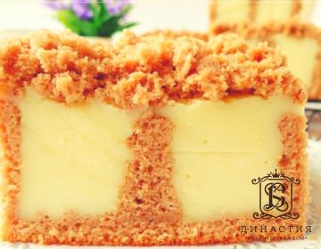 Рецепт бисквитного торта с ванильным пудингом